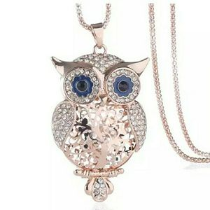 Gold Owl Pendant Necklace with Rhinestones
